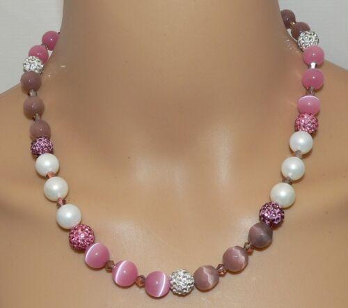 Collar muschelkern perle Cat Eye rosa malva Rose berenjena lila pedrería 114a