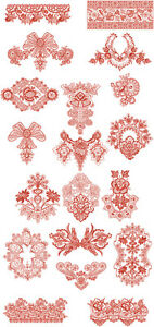 """ABC Designs Roses Lace Inserts Machine Embroidery Designs SET 5/""""x7/"""" hoop"""