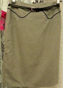"( Ref 559 ) Next - Size 10 W 28"" - Grey & Black Knee Length Lined Skirt Bnwt Angenehme SüßE"