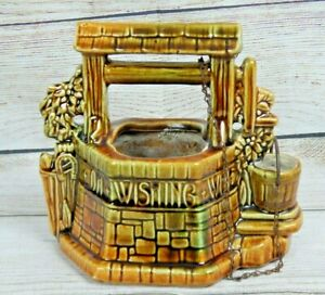 Vintage-McCoy-Art-Pottery-Grant-Me-a-Wish-Wishing-Well-Planter-Metal-Chain-Lucky