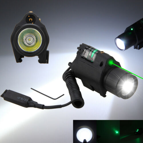 Airsoft LED Tactical Flashlight+Green//RED Laser Sight Combo Picatinny Mount Rail