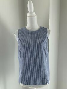 Theory Blue & White Fine Stripe Sleeveless Cotton Taree Top Blouse SZ 8 M