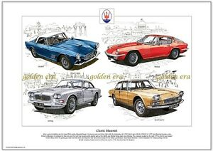 classic maserati fine art print - a3 size - 3500gt mistral sebring