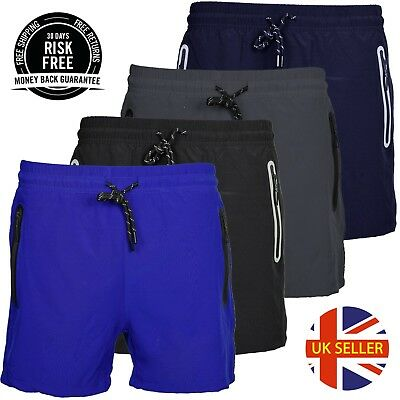 Mens Plain Casual Swimming Shorts Summer Holiday Beach Zip Pockets Swim Trunks