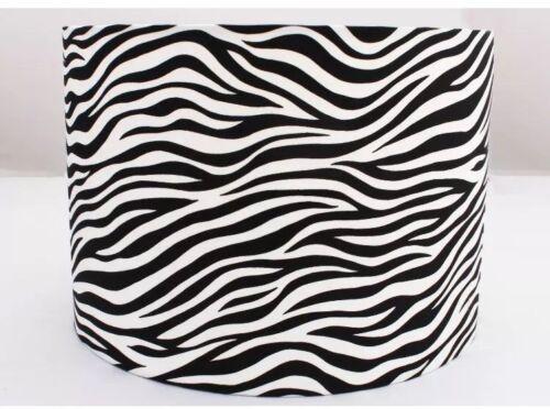 Imprimé Animal Tambour Abat-jour Zebra light Shades Noir Rayures Blanches Lampe Neuf