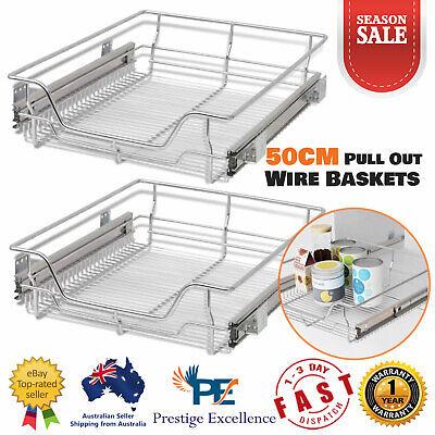 50cm Pull Out Wire Baskets Kitchen Pantry Storage Drawer Organizer Metal Sliding Ebay