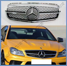 12-14 M-BENZ W204 Fit C250 C300 C350 4Dr Gloss Black Hood Front Grille Like C63