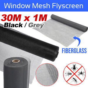 Roll-Insect-Flywire-Window-Fly-Screen-Net-Mesh-Flyscreen-Black-Grey-100FT-30M