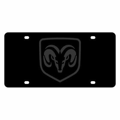 Eurosport Daytona MOPAR Black License Plate w Black Dodge Ram Framed Emblem