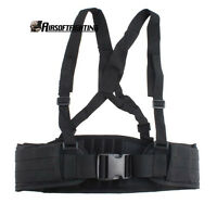 Adjustable Molle Soft Padded Tactical Waist Belt With Suspender For Outdoor Bk
