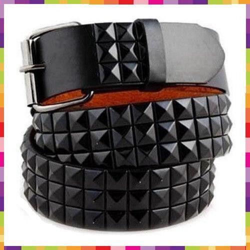 Mens Womens 3-Row Metal Pyramid Studded Leather Belt  Checker Punk Rock Goth Emo
