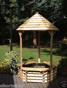 New-Wooden-Wishing-Well-Pond-Garden-Water-Feature-Outdoor-Fountain-Pool
