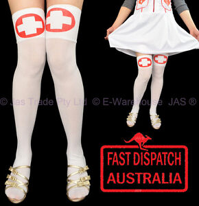 Red and white fancy dress tights