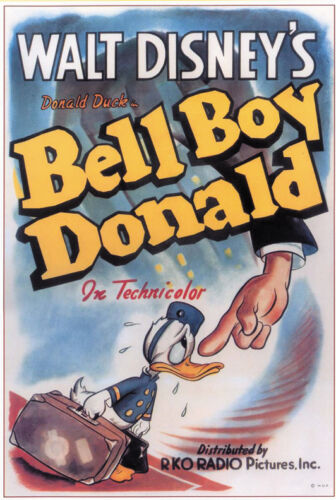 Bell Boy Donald Disney cartoon movie poster