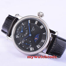42mm parnis black dial GMT blue hands hand winding movement mens watch PA426
