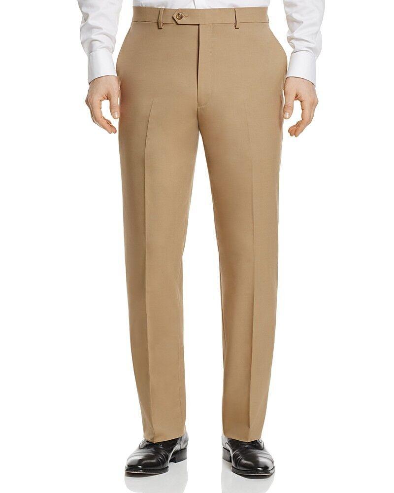 495 HART SCHAFFNER MARX Classic Fit Trousers Braun FLAT FRONT SUIT PANTS 36 W