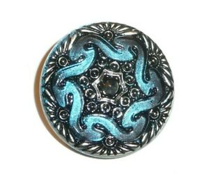 """Wonderful Two Toned Blue Hand Painted Silver Lacy Glass Shank Button 1-1//16/"""""""