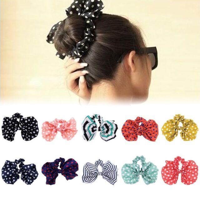 Women Scrunchie Ponytail Holder Satin Ribbon Bow Hair Band Hair Rope 10 Colors