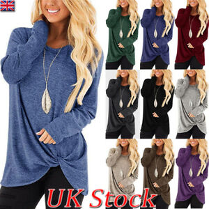 UK-Womens-Autumn-Long-Sleeve-Pure-Casual-T-shirt-Ladies-Loose-Tops-Blouse-Bottom