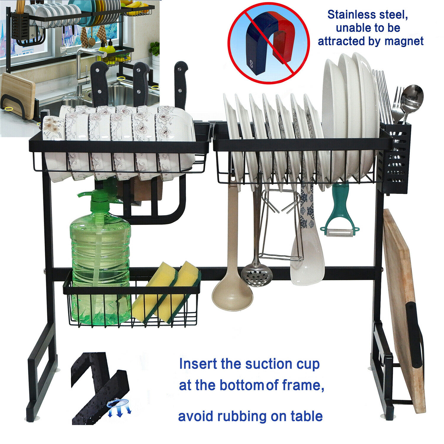 Over Sink Dish Drying Rack 2-Tier Stainless Steel Cutlery Drainer Kitchen Shelf
