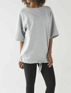 LULULEMON Split Short Sleeve Pullover SIZE 4 heathered grey, Crew Neck