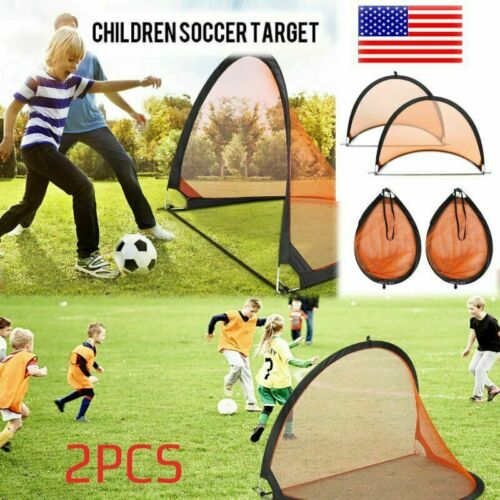 Set of 2 Portable Pop-Up Soccer Goals Portable Soccer Nets With Carry Bag PK