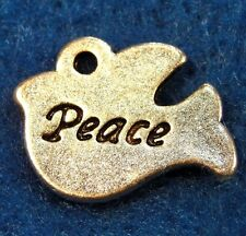 "50Pcs. WHOLESALE Tibetan Silver ""PEACE"" Dove BIRD Charms Pendants Drops Q0062"
