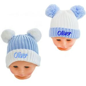 Double Pom Pom hat contrast Baby boy girl Assorted Knitted 0-12m  7cab1425ee07