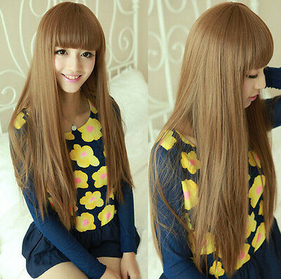 New Long Brown Straight Synthetic Wig Rpg Wigs Pelucas Cabello Paulayoung Wigs