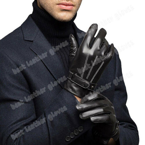 Men/'s Winter Genuine Leather Driving Gloves Lambskin With Warm Fur Lined For Men