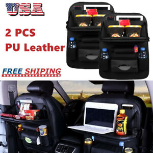 2pc Car Back Seat Organizer Foldable Table Tray Storage Holder