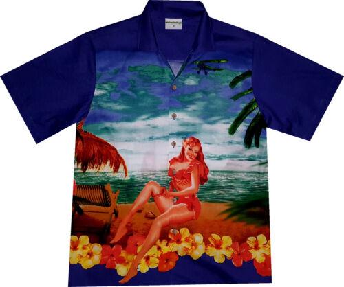 Camisa hawaiana Beach Girl M 6xl 100/% algodón//camisa hawaiana hawaiiana playa azul