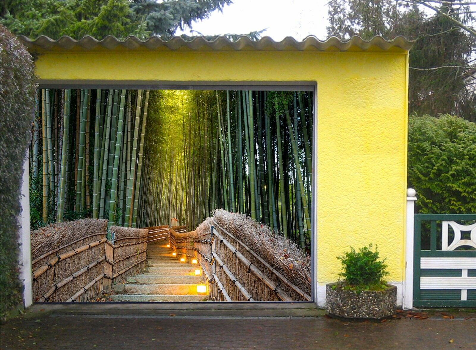 3D Bamboo bridge 4 Garage Door Murals Wall Print Decal Wall Deco AJ WALLPAPER UK
