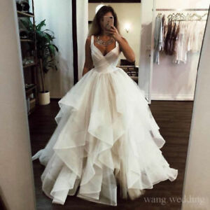 Details about Romantic Ruffles Tulle Wedding Dresses Plus Size Princess  Sweetheart Bridal Gown