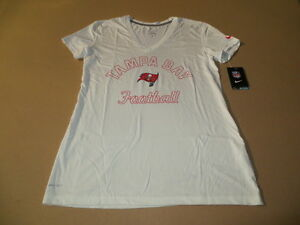 Tampa Bay Buccaneers NFL Women s Nike Dri Fit White V-Neck T-Shirt ... ff70ba3cd