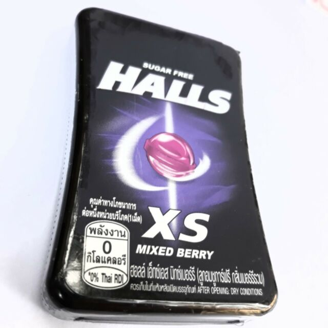 NEW Halls XS Mixed Berry Flavor  0% Fat Sugar Free Candy Fresh Breath Cool 15g.