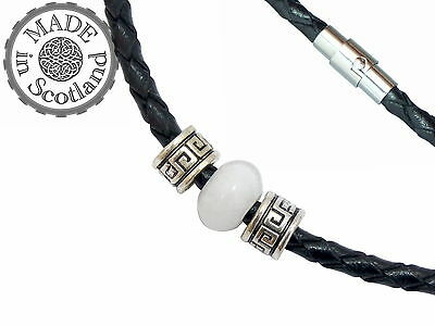 4MM BLACK BRAIDED LEATHER & WHITE JADE SURFER JEM STONE NECKLACE & BRASS CLASP