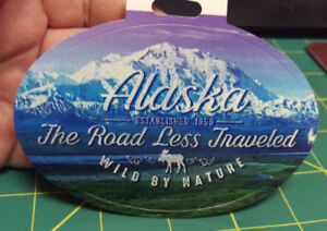 Alaska-sticker-Alaska-The-Road-Less-Traveled-Wild-By-Nature-with-Mountain-Scene