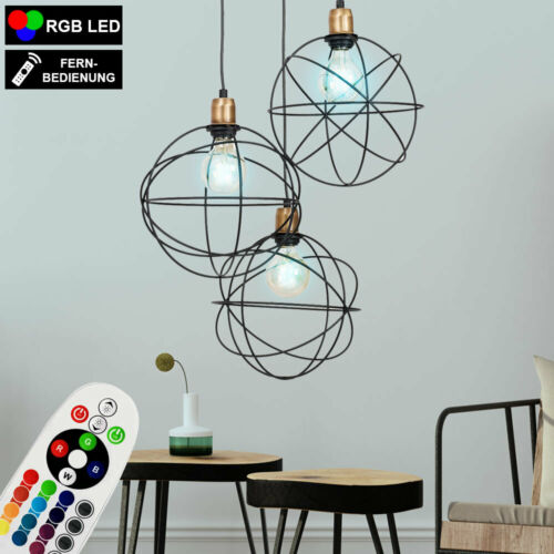 RGB LED Hänge Leuchte dimmbar Kugel Decken Lampe Pendel Strahler Fernbedienung