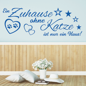 Wandtattoo-Spruch-Ein-Zuhause-ohne-Katze-Haus-Wandsticker-Wandaufkleber