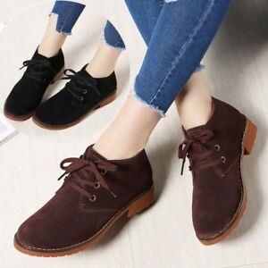 womens ladies retro leather boots casual biker flat riding