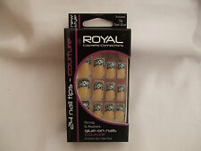 Royal Couture 24 Nail Tips  Pink/White Looping Design Black Background New