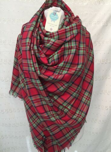 TARTAN TWILL COTTON SCARF ROYAL STEWART RED  GREEN UNISEX LADIES MENS GIFT