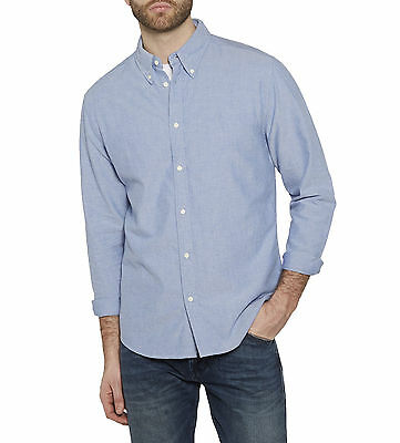 Wrangler Men's Cotton Oxford Shirt Regular Fit Long Sleeve Button Down Surf Blue