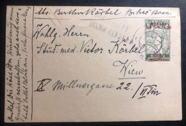 1919 Bosnie-herzégovine Censuré Papeterie Carte Postale Couverture à Vienne Autriche
