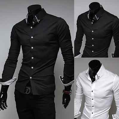 Mens Casual Fashion Slim Fit Button Down Collared Dress Shirts Flip Cuff PK30