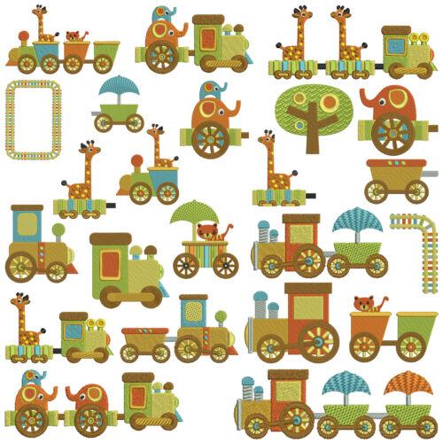 15 designs CHOO TRAIN RIDE Machine Embroidery Patterns 2 sizes