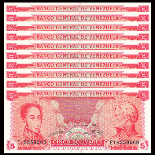 P-70b UNC Venezuela 5 Bolivares Lot 10 PCS 1989