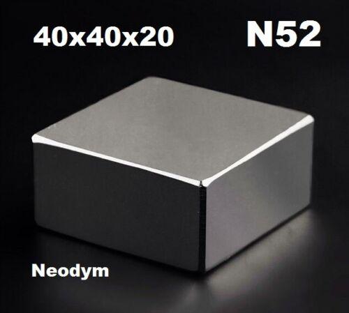 1pcs Block 40x40x20mm SUPER STARKE N52 Qualitäts Seltene Erden Magnet Neodym