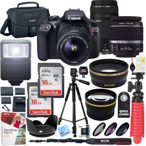 Canon T6 EOS Rebel DSLR Camera w/ 18-55mm IS II + 75-300mm III Double Zoom Kit 660685152731